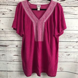 Chico's Pink Ornate White Stitch V Neck Top
